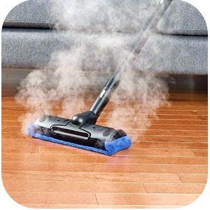 Cleaning with a steam mop image